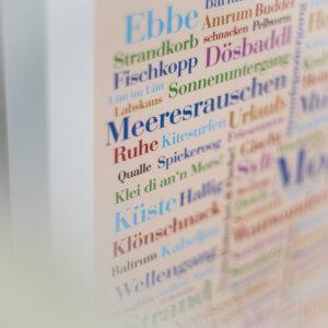 Das Plakat mit Motiv Nordsee Wörter.