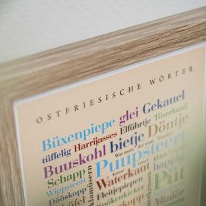 Plakat mit Wörtern aus der Region Ostfriesland.