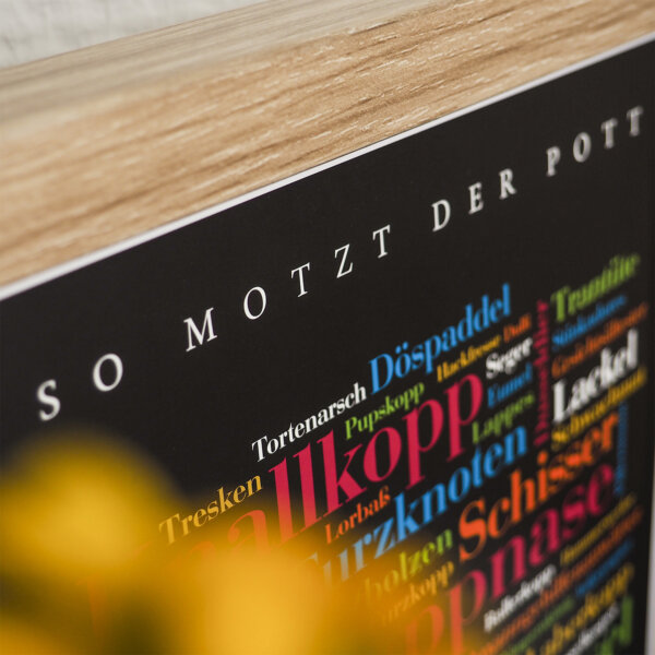 Das Plakat mit den Ruhrpott Schimpfwörtern.