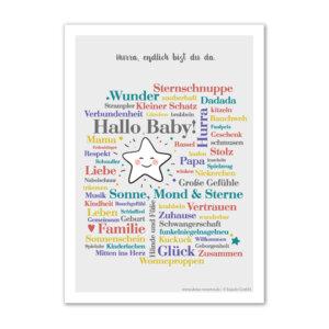 Geschenk zur Geburt: Poster Hallo Baby