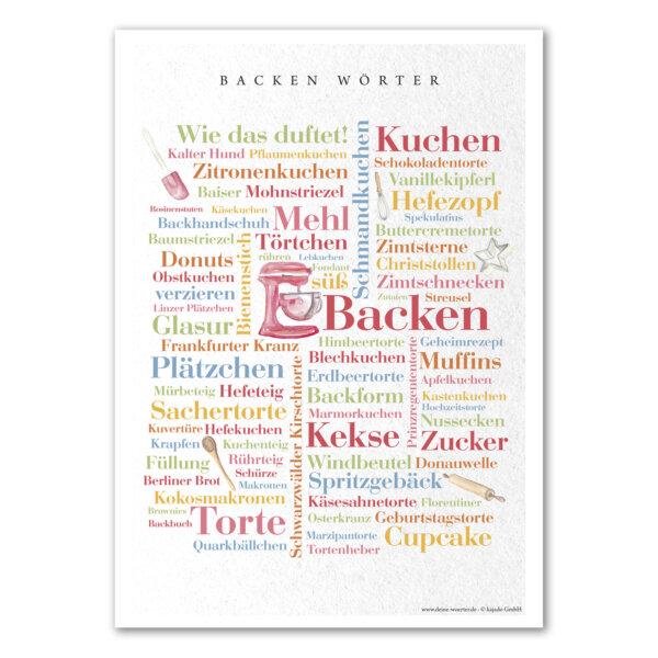 Das Poster mit den schönsten Wörtern rund um das Thema backen.