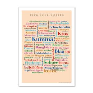 Das Poster mit den schönen Wörtern aus dem Bergischen Land.
