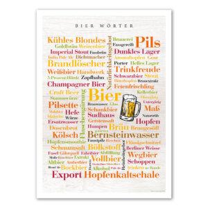 Das Poster mit den Begriffen rund um das Bier.