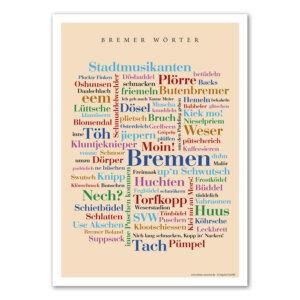 Bremer Wortart auf einem Poster vereint.