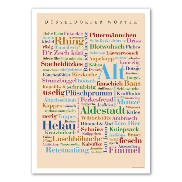 Düsseldorfer Wortart auf einem liebevoll gestalteten Poster vereint.