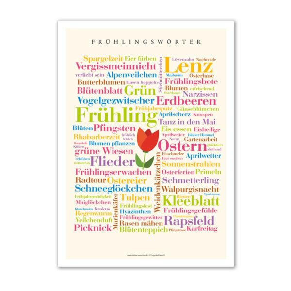 Das Poster mit frischen Wörtern zur Jahreszeit Frühling.