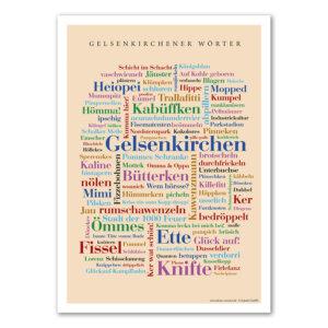 Die Gelsenkirchener Wörter auf einem Poster vereint.