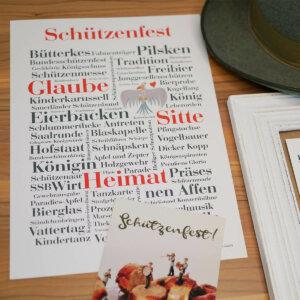 Poster mit Begriffen zum Schützenfest