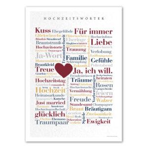 Die Hochzeitswörter auf einem Poster als Geschenkidee für die Hochzeit.