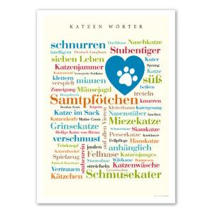 Poster mit den Katzen Wörtern.