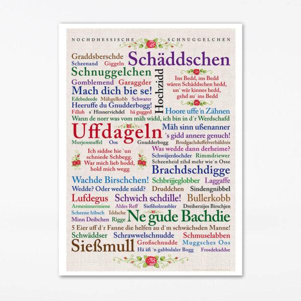 Poster Nordhessische Wörter aus dem Ehe- und Beziehungsleben.