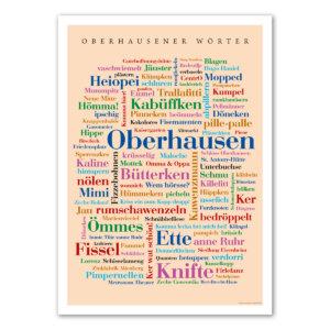 Die schönsten Wörter aus Oberhausen auf einem Poster.