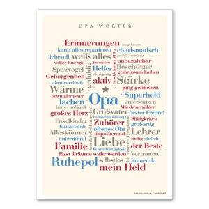 Endlich sind die schönsten Wörter aus dem Leben eines Opas auf einem liebevoll gestalteten Poster vereint. Als Geschenk für deinen Opa oder für die eigenen vier Wände.