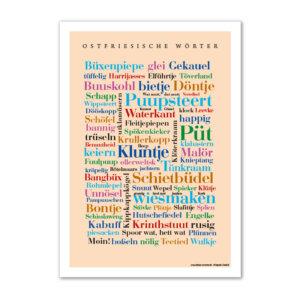 Die lustigsten, kreativsten und schönsten Alltagsworte aus Ostfriesland auf einem Poster vereint.