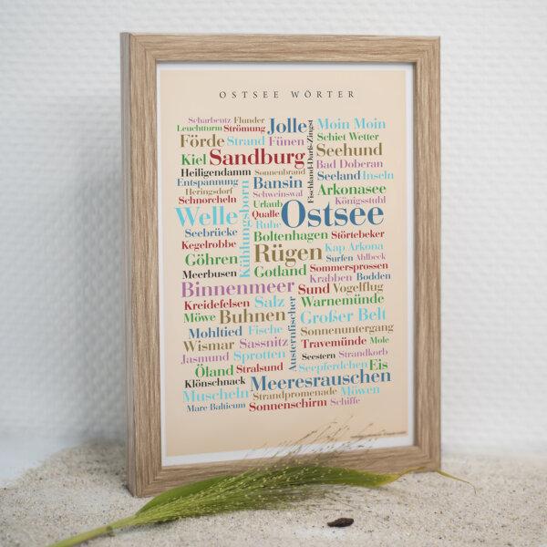 Das Poster mit den Ostsee Wörtern ist das ideale Geschenk.