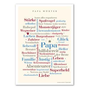 Die schönsten Wörter rund um das Leben eines Papas auf einem Poster vereint.