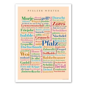 Das Poster mit den Wörtern aus der Pfalz.