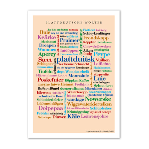 Die lustigsten, kreativsten und schönsten plattdeutschen Alltagsworte auf einem Poster vereint.