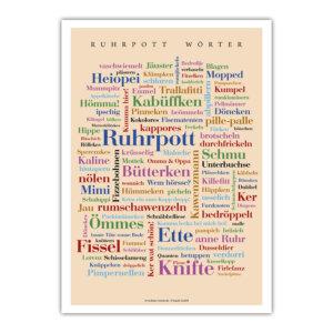 Die schönsten Ruhrpottwörter auf einem dekorativen Poster vereint.