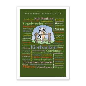 Das Poster Sauerländer Bräuche für alle, die das Sauerland und seine Sitten, Unsitten und reizvollen Traditionen lieben.