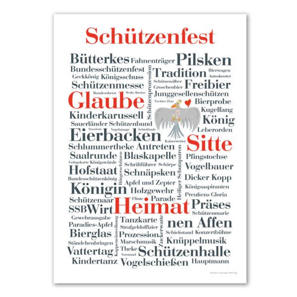 Das Poster mit schönen und lustigen Schützenfest Wörtern.