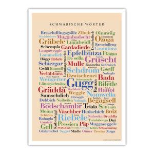 Poster mit schwäbischen Begriffen, Wortwolke Schwaben