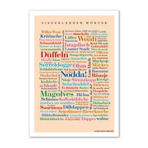 Die lustigsten, kreativsten und schönsten Alltagsworte aus dem Siegerland auf einem Poster vereint.
