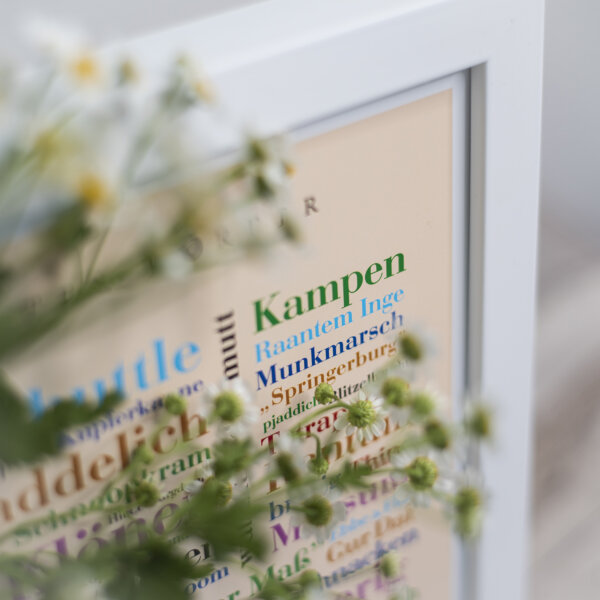 Poster mit den schönen Inselwörtern Sylt.