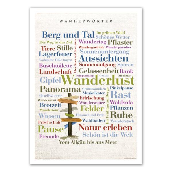 Das Poster mit den Wanderwörtern für Abenteurer.