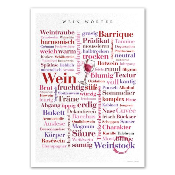 Poster mit den Wein Wörtern.
