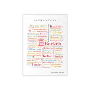 Endlich gibt es eine Postkarte mit den schönsten Wörtern rund um das Thema Backen.