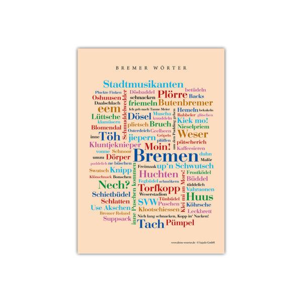 Bremens schönste Wörter auf einer Postkarte.