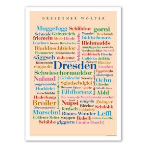 Die Postkarte mit den Dresdener Wörtern.