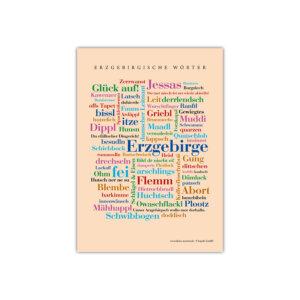 Eine liebevoll gestaltete Postkarte mit den schönsten Wörtern aus dem Erzgebirge.
