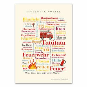 Die Feuerwehr Wörter Postkarte für Kinder.
