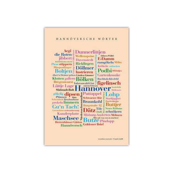 Die Postkarte Hannöversche Wörter mit den schönsten Wörtern deiner Lieblingsstadt.