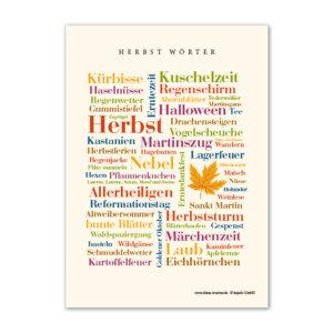Postkarte Herbst Wörter zum Verschicken.