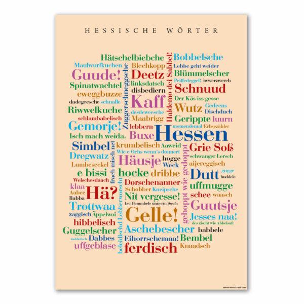 Die Postkarte mit den schönen Hessischen Wörtern.