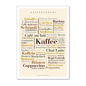Postkarte mit den Kaffee Wörtern.