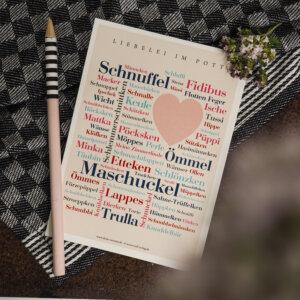 Postkarte mit den schönsten Kosewörtern aus dem Ruhrgebiet.