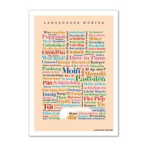 Die Postkarte mit Langeooger Wörtern.