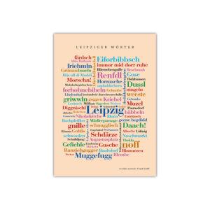 Die schönsten Wörter Leipzigs auf einer Postkarte zusammengestellt.