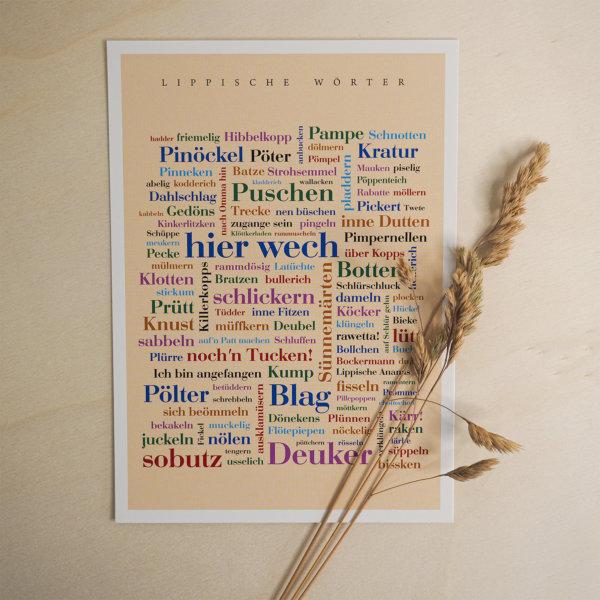 Die Postkarte mit Lipperland Dialekt.