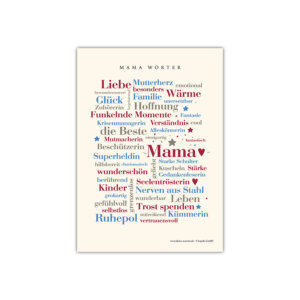 Postkarte mit den schönsten Wörtern aus dem Alltag einer Mama.