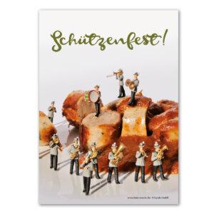 """Die Postkarte mit dem Motiv """"Schützenfest""""."""