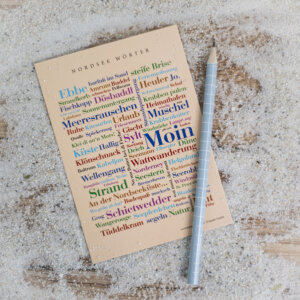 Die Postkarte mit den schönen Wörtern der Nordsee.