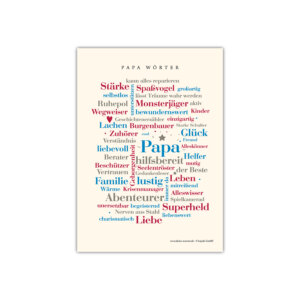 """Zeige deinem Papa wie lieb du ihn hast mit unserer Postkarte """"Papa Wörter""""."""