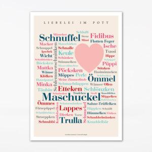 Postkarte mit den schönen Kosenamen aus dem Ruhrgebiet.
