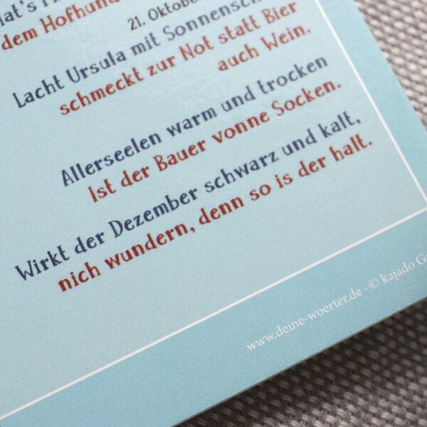 Die Postkarte mit dem Sauerländer Bauernkalender.