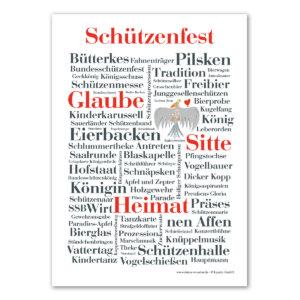 Die Schützenfest Wörter auf einer Postkarte.